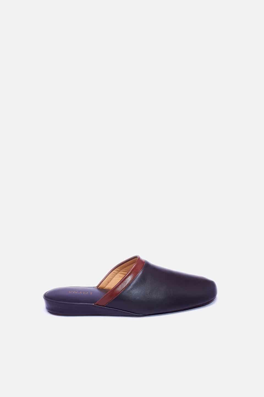 Chinela Piel Vivo Marron Kosma Menorca en Loyna Shoes