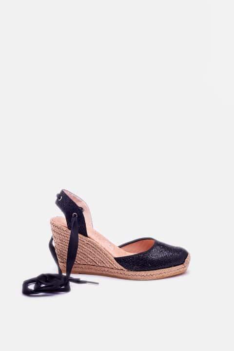 Lady Cintas Negro Alpargatas en Loyna Shoes