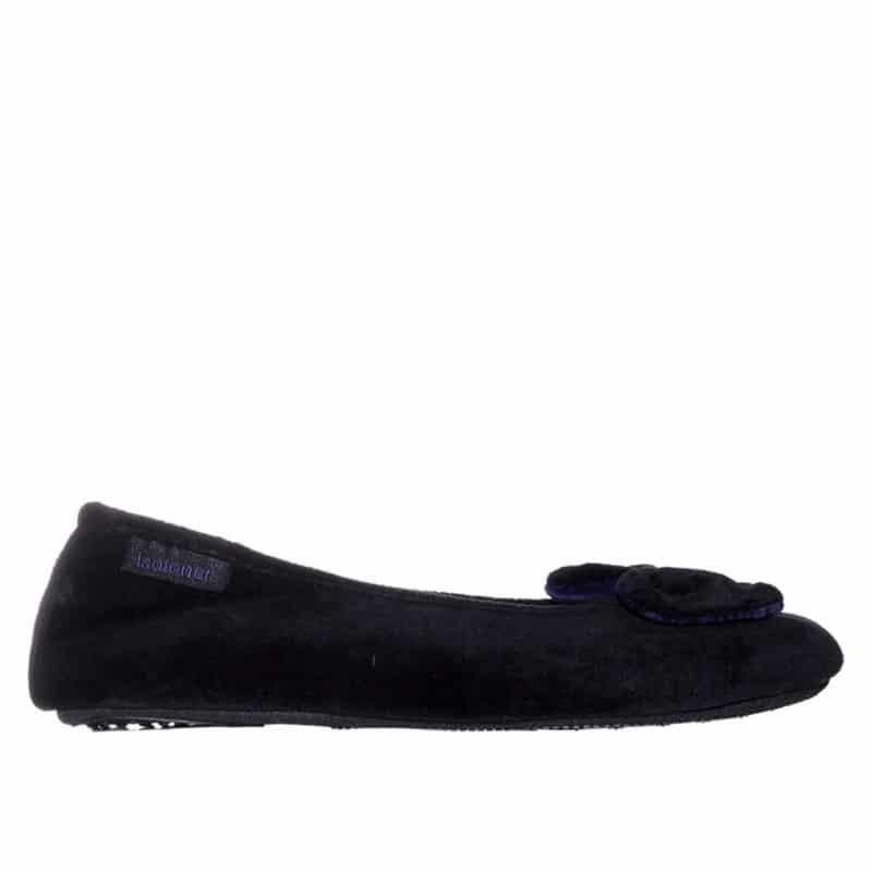 Ballerines Velours Negro Slippers en Loyna Shoes