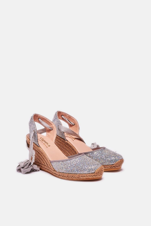 Lady Cintas Plata Alpargatas en Loyna Shoes