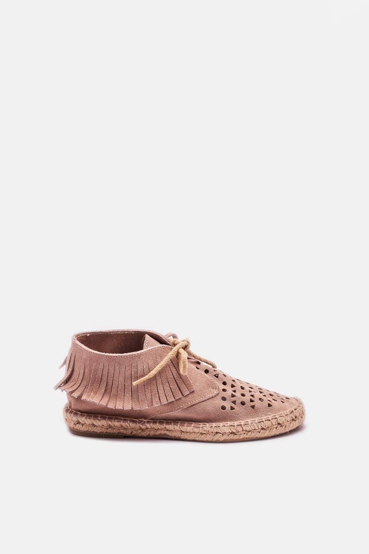 Bota Flecos Serraje Piedra Alpargatas en Loyna Shoes