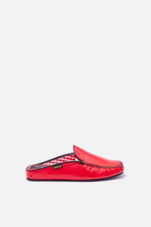 Chinela Kiowa Piel Rojo Slippers en Loyna Shoes