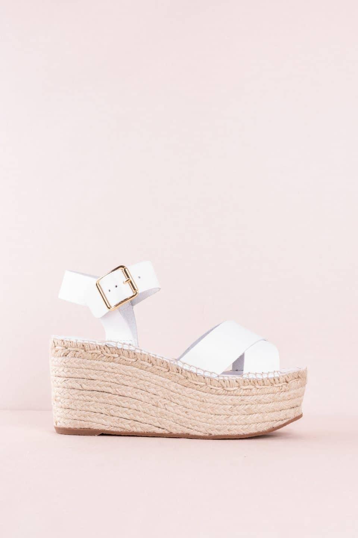 Sandalia Cuña Esparto Piel Vaqueta Blanco Alpargatas en Loyna Shoes