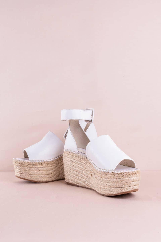 Sandalia Cuña Esparto Piel Napa Blanco Alpargatas en Loyna Shoes