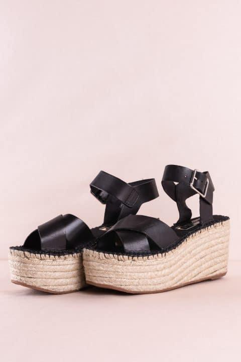 Sandalia Cuña Esparto Piel Vaqueta Negro Sin categoría en Loyna Shoes