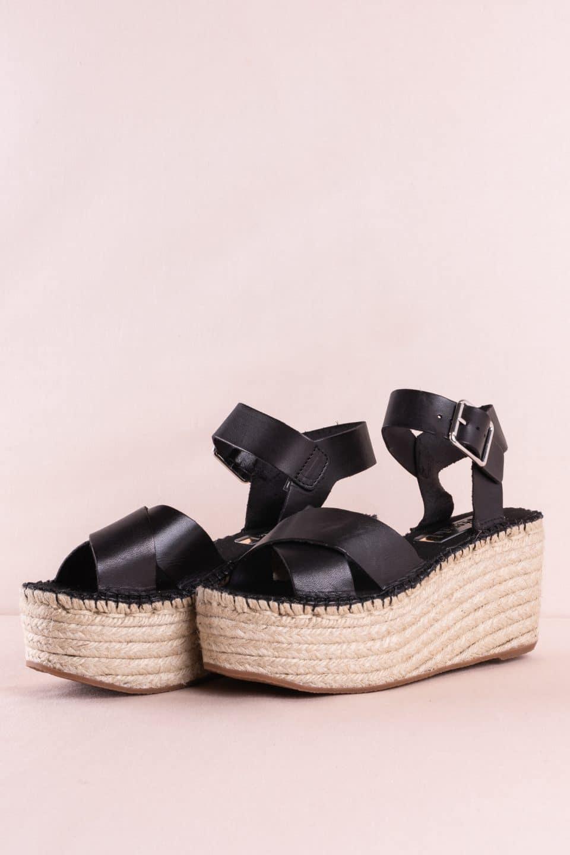 Sandalia Cuña Esparto Piel Vaqueta Negro Alpargatas en Loyna Shoes