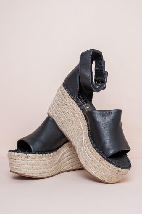 Sandalia Cuña Esparto Piel Napa Negro Sin categoría en Loyna Shoes