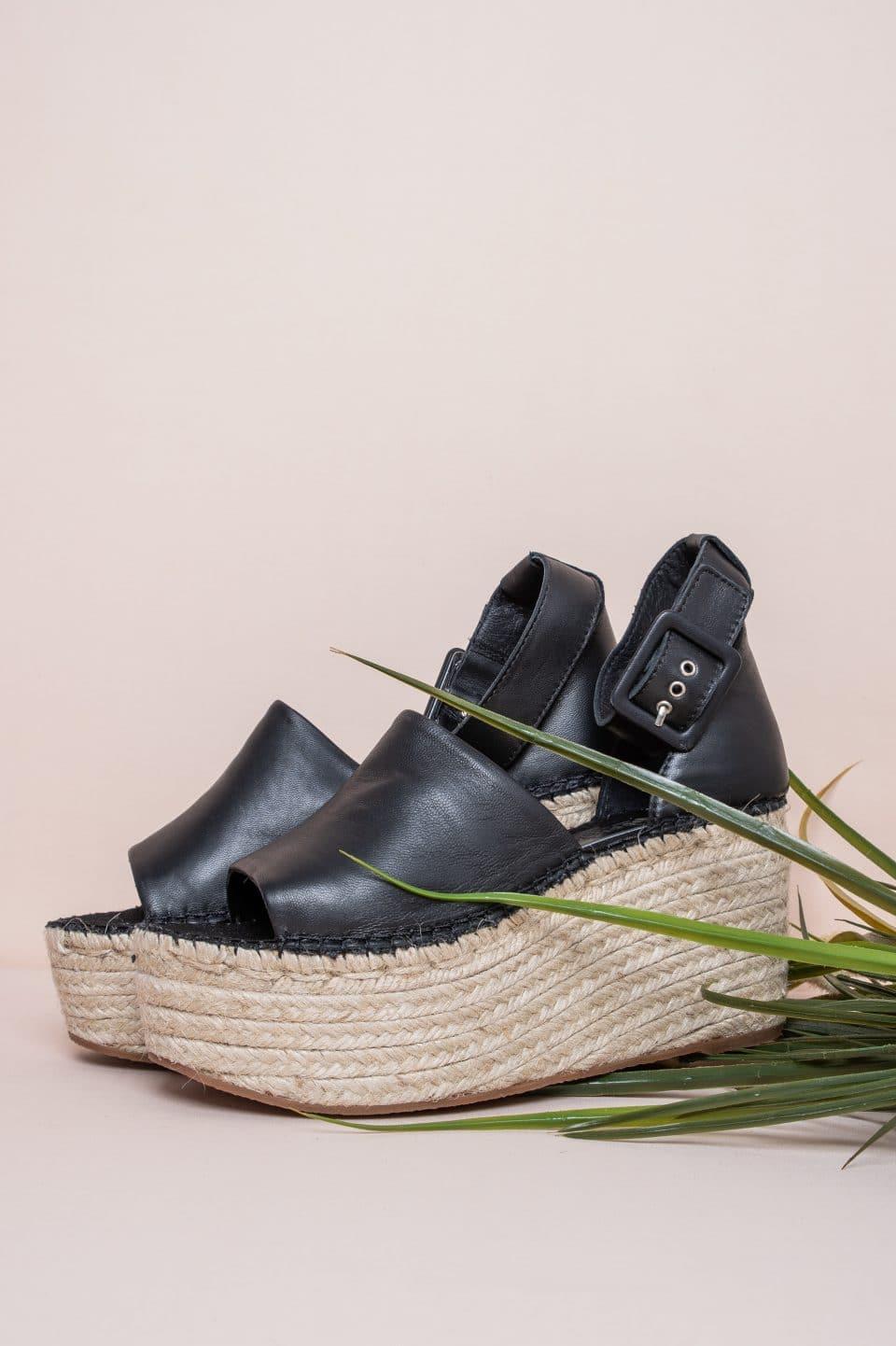 Sandalia Cuña Esparto Piel Napa Negro Alpargatas en Loyna Shoes