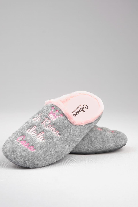 PICOS LANA GRIS ABIERTA Slippers en Loyna Shoes