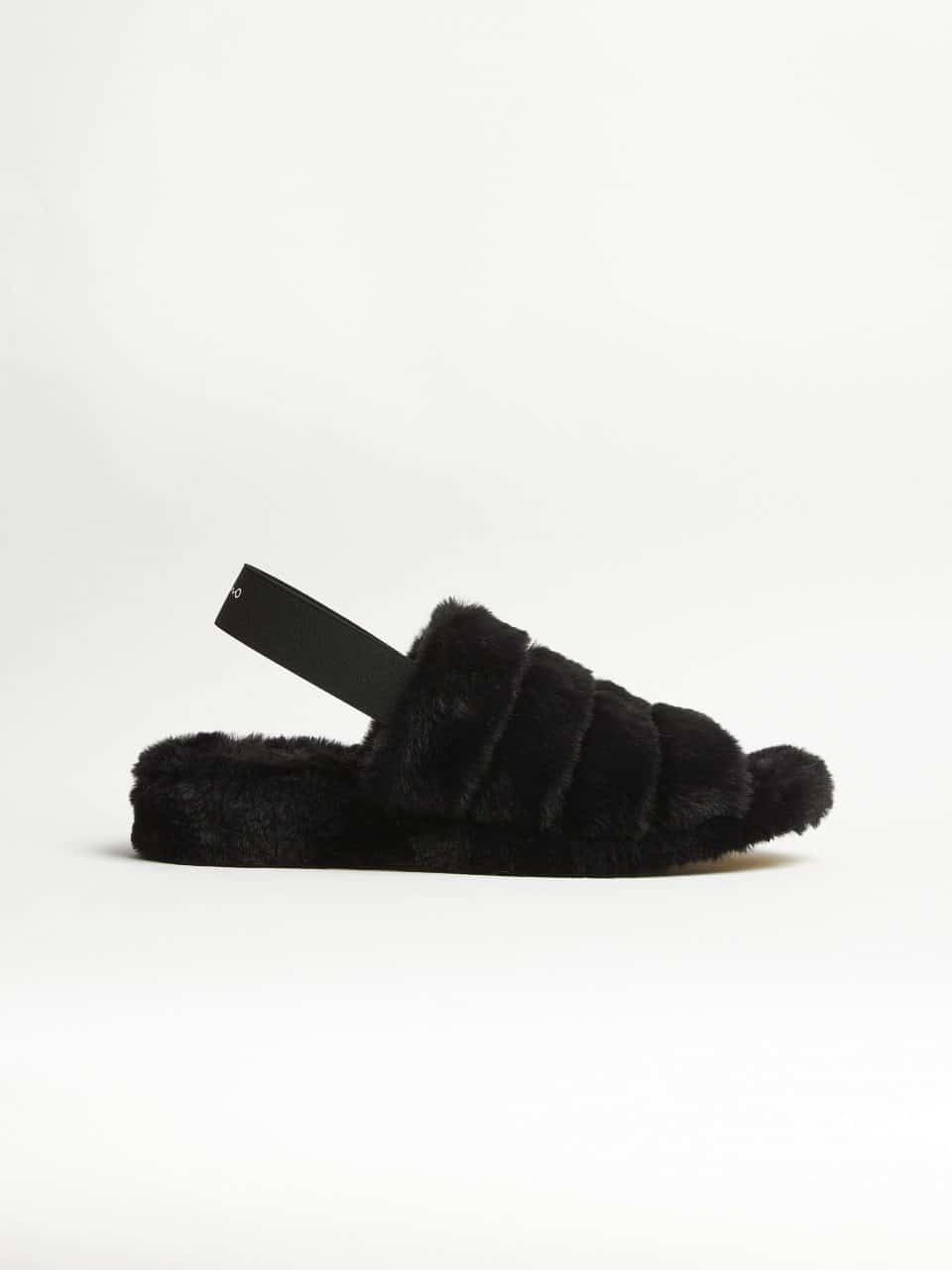Max Pelo Negro Slippers en Loyna Shoes