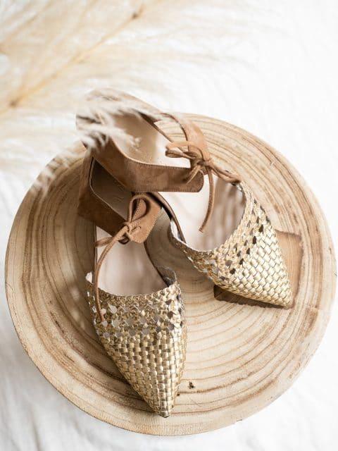 MADEIRA TRENZADA ORO Micuir Zapatos en Loyna Shoes