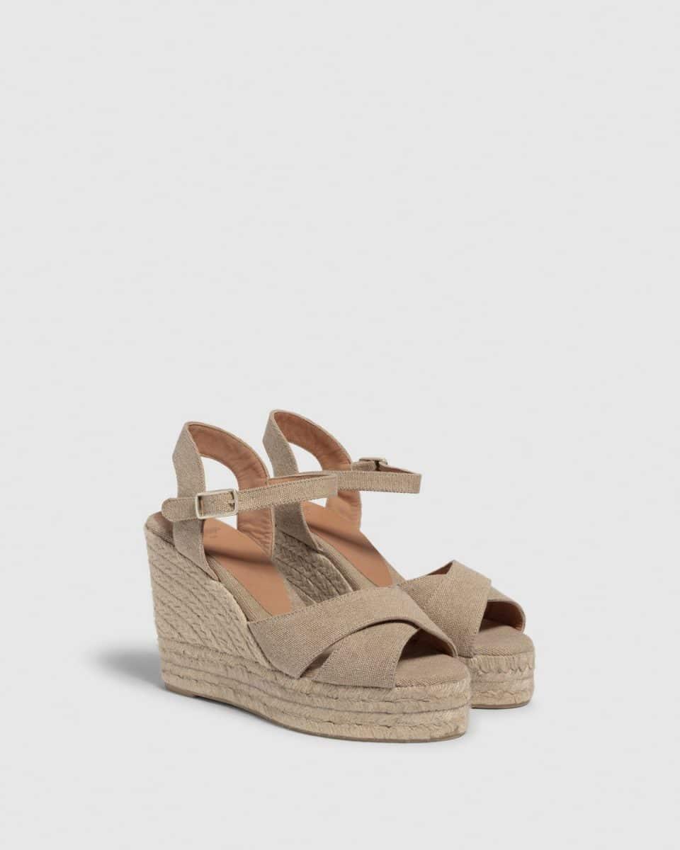Blaudell. Alpargata con cuña elaborada en lona 11cm Alpargatas en Loyna Shoes