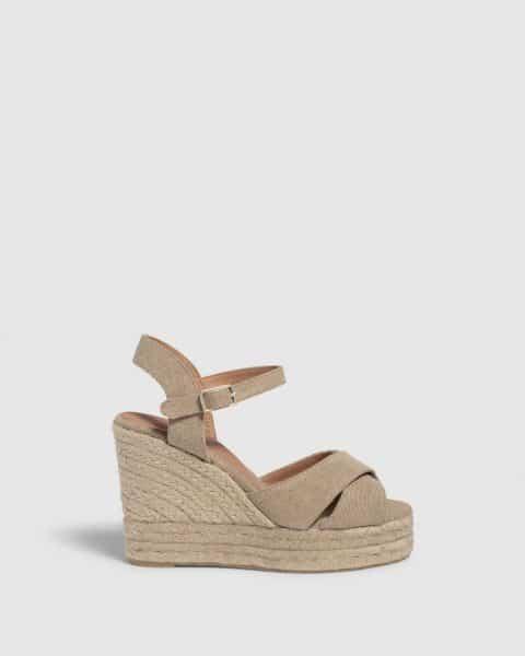 Blaudell. Alpargata con cuña elaborada en lona 11cm Castañer Alpargatas en Loyna Shoes