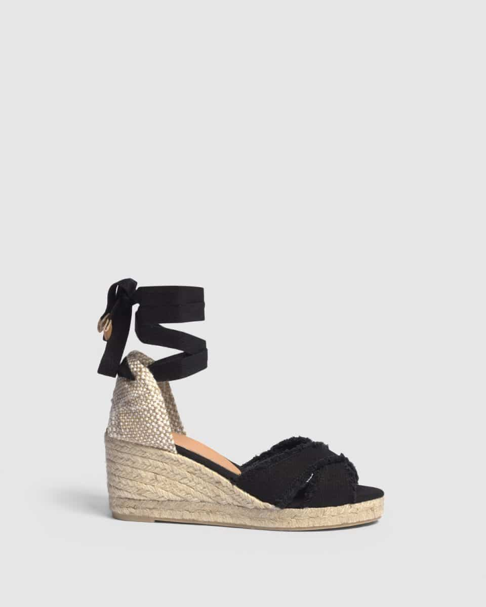 Alpargata Castañer Bluma Negro con cuña elaborada en lona 7cm Alpargatas en Loyna Shoes