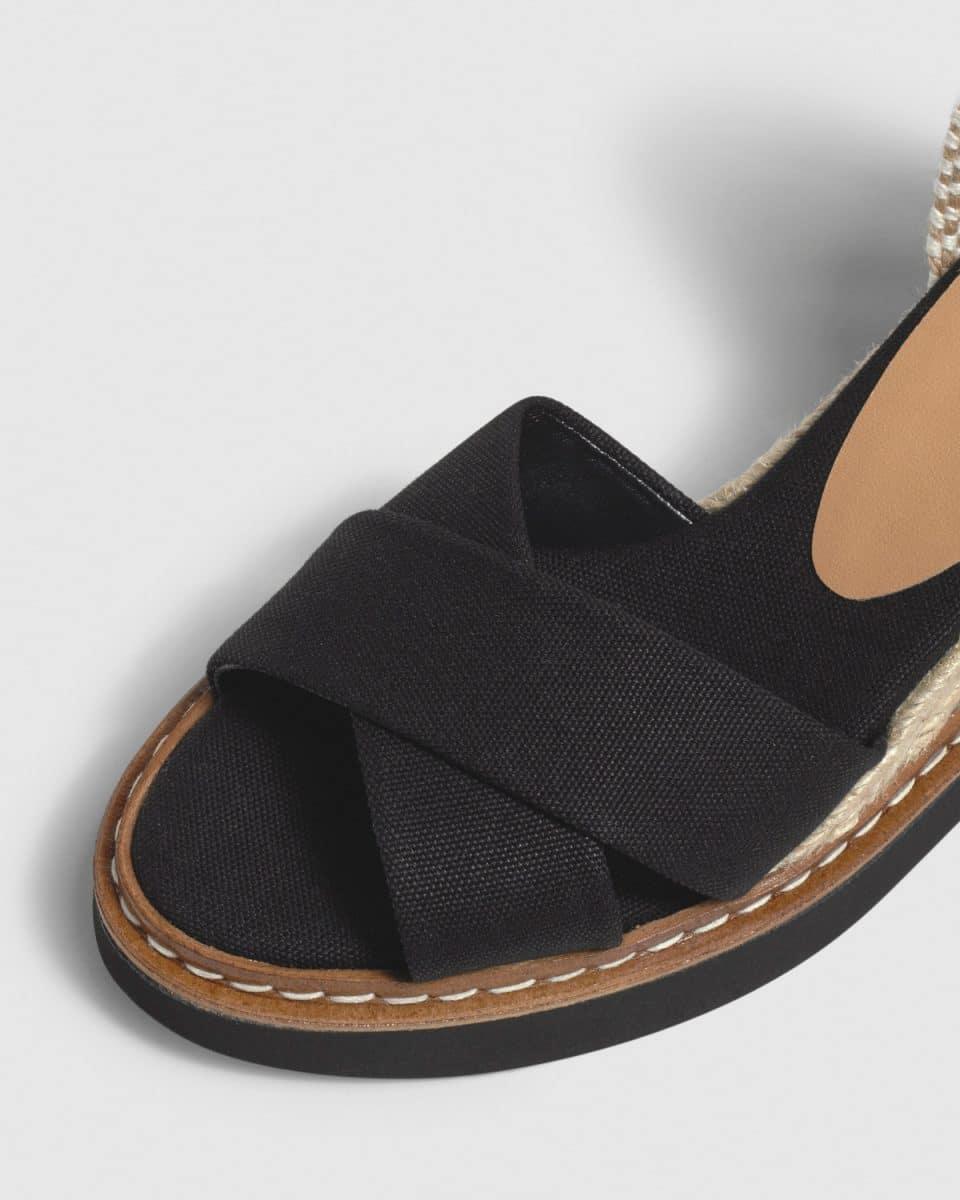 Bonnie. Sandalia con cuña elaborada en lona 7cm Alpargatas en Loyna Shoes
