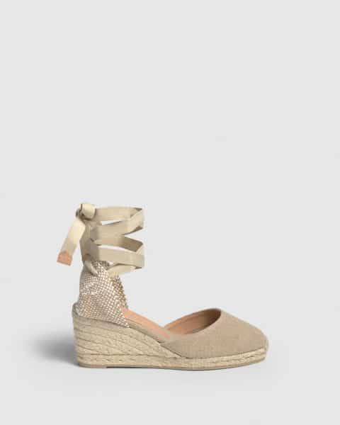 Carina. Alpargata con cuña elaborada en lona 7cm Castañer Alpargatas en Loyna Shoes