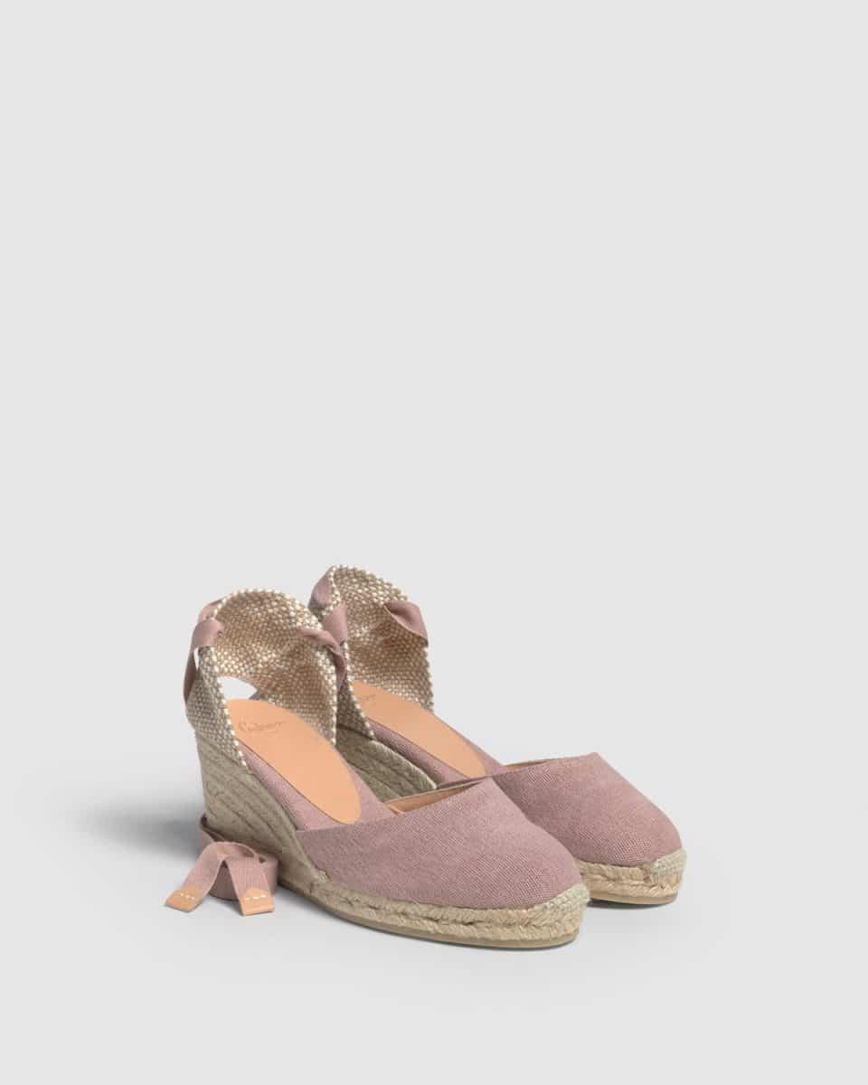 Alpargata de cuña Castañer Carina Rosa lona 7 cm Rebajas en Loyna Shoes