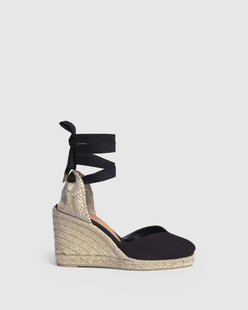 Alpargata de cuña Castañer Chiara Negro en lona 9 cm Alpargatas en Loyna Shoes