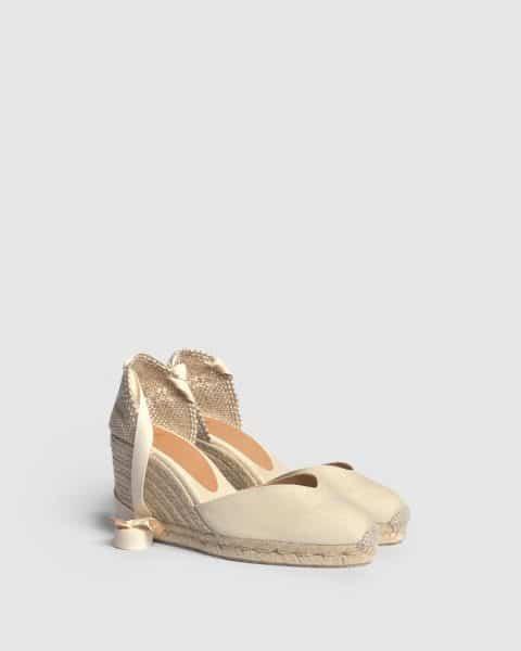Alpargata de cuña Castañer Chiara Ivory en lona 9 cm (copia) Alpargatas en Loyna Shoes