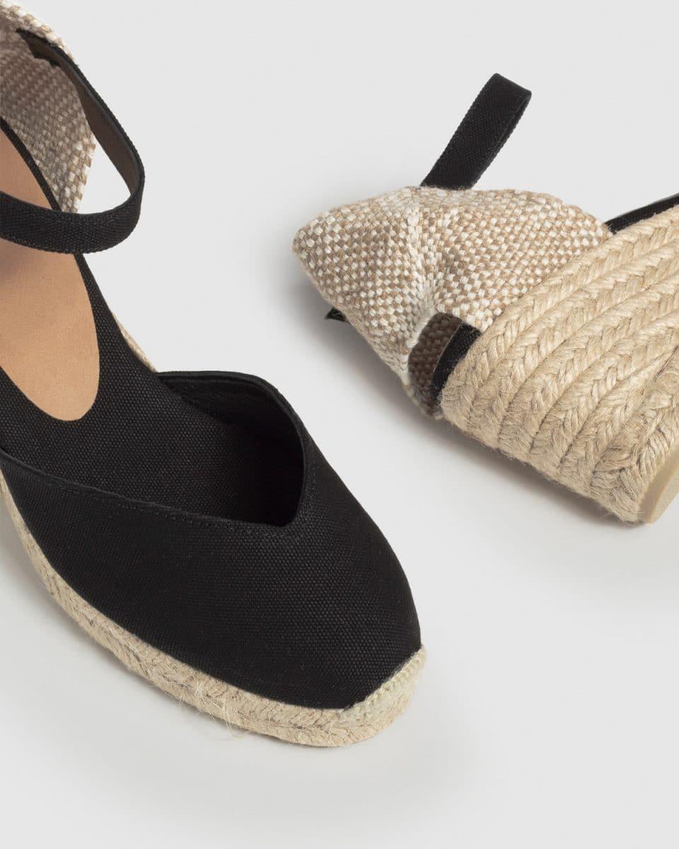 Alpargata de cuña Castañer Chiarita Negro lona 7 cm Alpargatas en Loyna Shoes