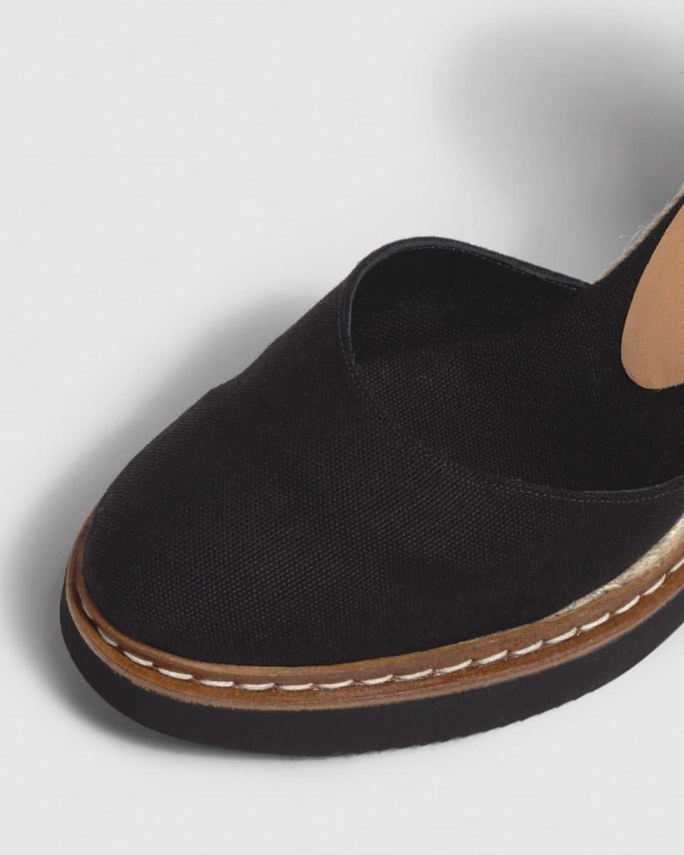 Alpargata Castañer Cintia Negro con cuña en lona 10cm Alpargatas en Loyna Shoes