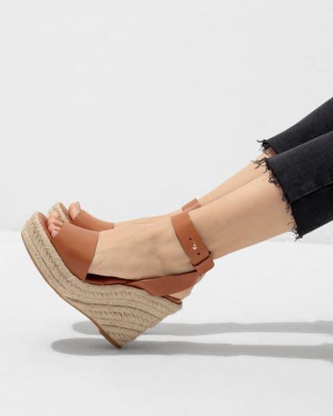 Jutta. Alpargata con cuña elaborada en piel 11cm Rebajas en Loyna Shoes