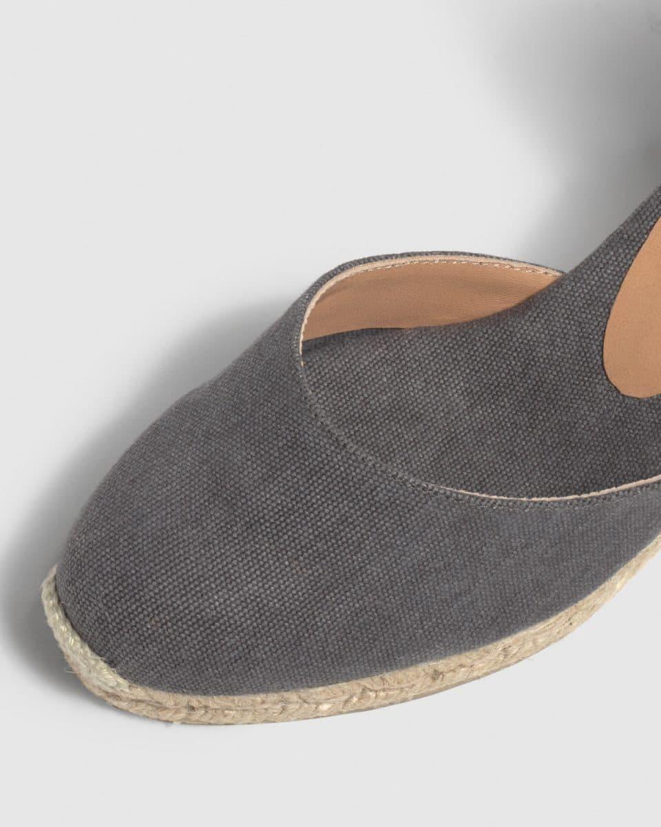 Alpargata de cuña Castañer Carina Gris lona 7 cm Alpargatas en Loyna Shoes