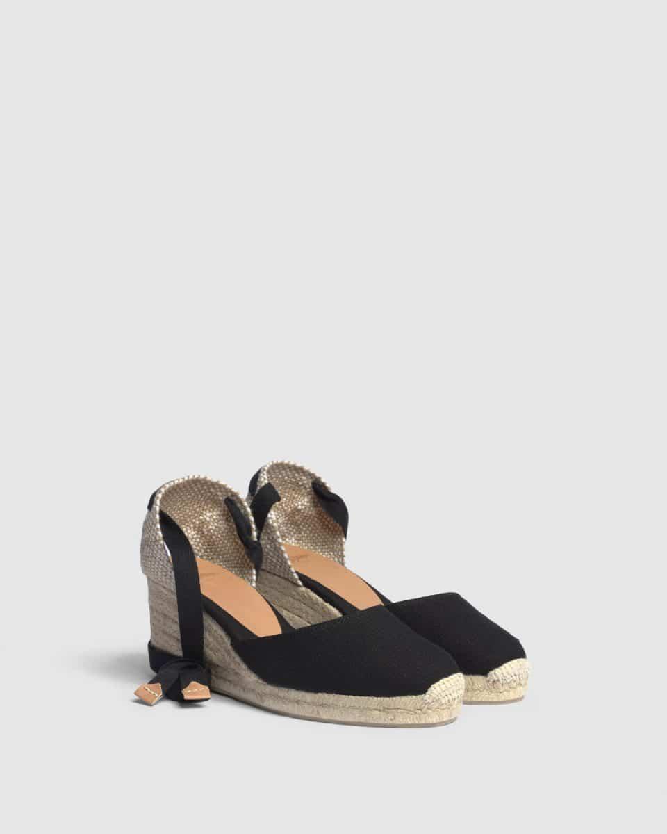 Alpargata de cuña Castañer Carina Negra lona 7 cm Alpargatas en Loyna Shoes