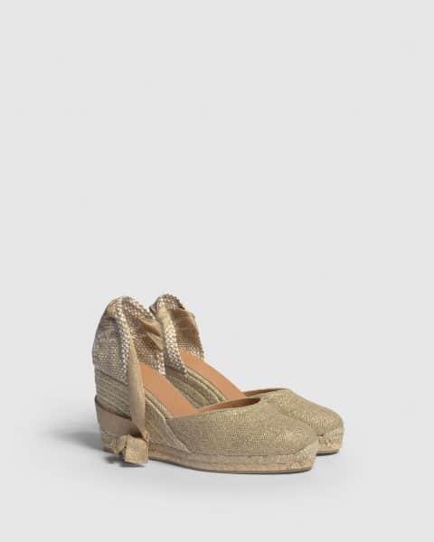 Carina. Alpargata con cuña elaborada en lino metalizado 9cm Alpargatas en Loyna Shoes