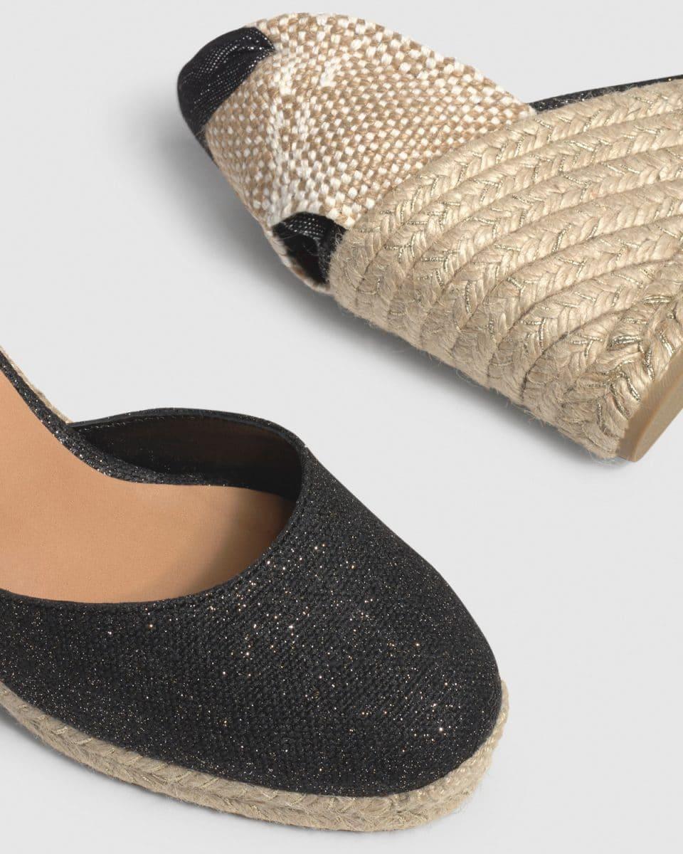 Alpargata Castañer Carina Negro Oro con cuña lino metalizado 9cm Alpargatas en Loyna Shoes