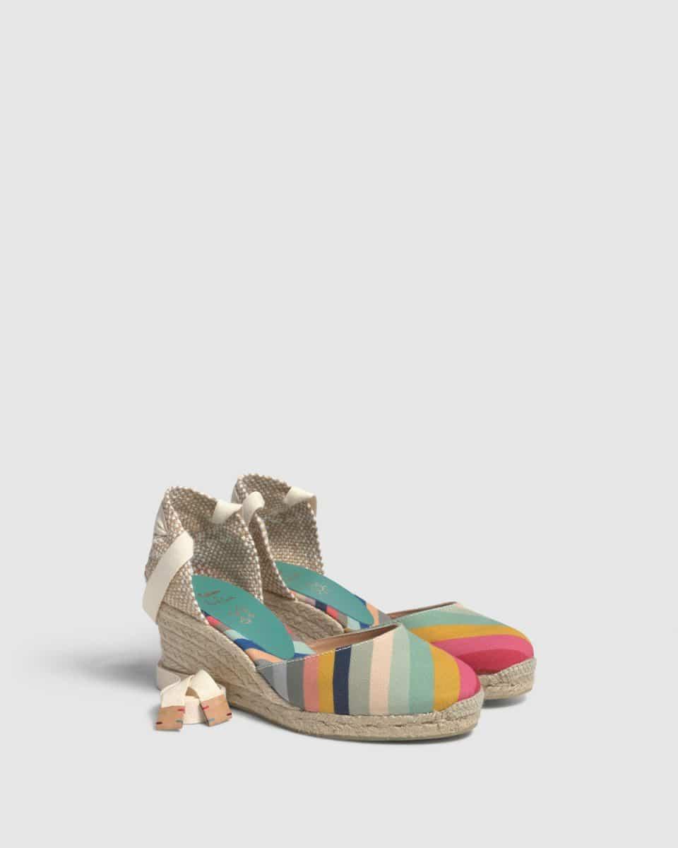 Castañer by Paul Smith. Carina. Alpargata con cuña elaborada en lona 7cm Castañer x Paul Smith en Loyna Shoes