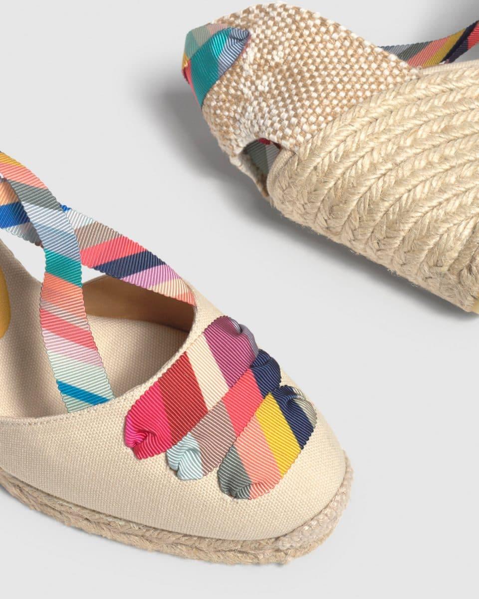 Castañer by Paul Smith. Coralia. Alpargata con cuña elaborada en lona 9cm Castañer x Paul Smith en Loyna Shoes