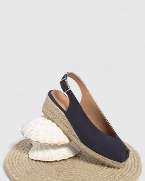 Alpargata de cuña open toe Castañer Dosalia Marino lona 5 cm Alpargatas en Loyna Shoes