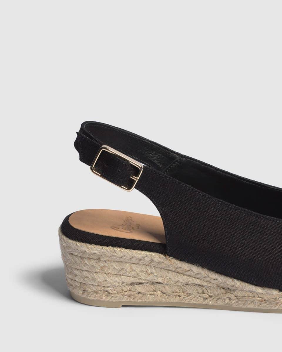 Alpargata de cuña open toe Castañer Dosalia Negro lona 5 cm Alpargatas en Loyna Shoes