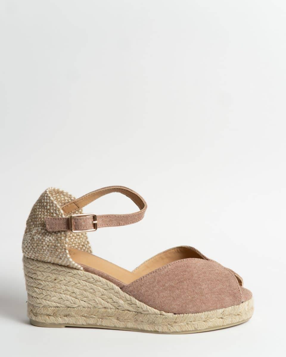 Alpargata Castañer Bianca Rosa con cuña en lona 7cm Alpargatas en Loyna Shoes