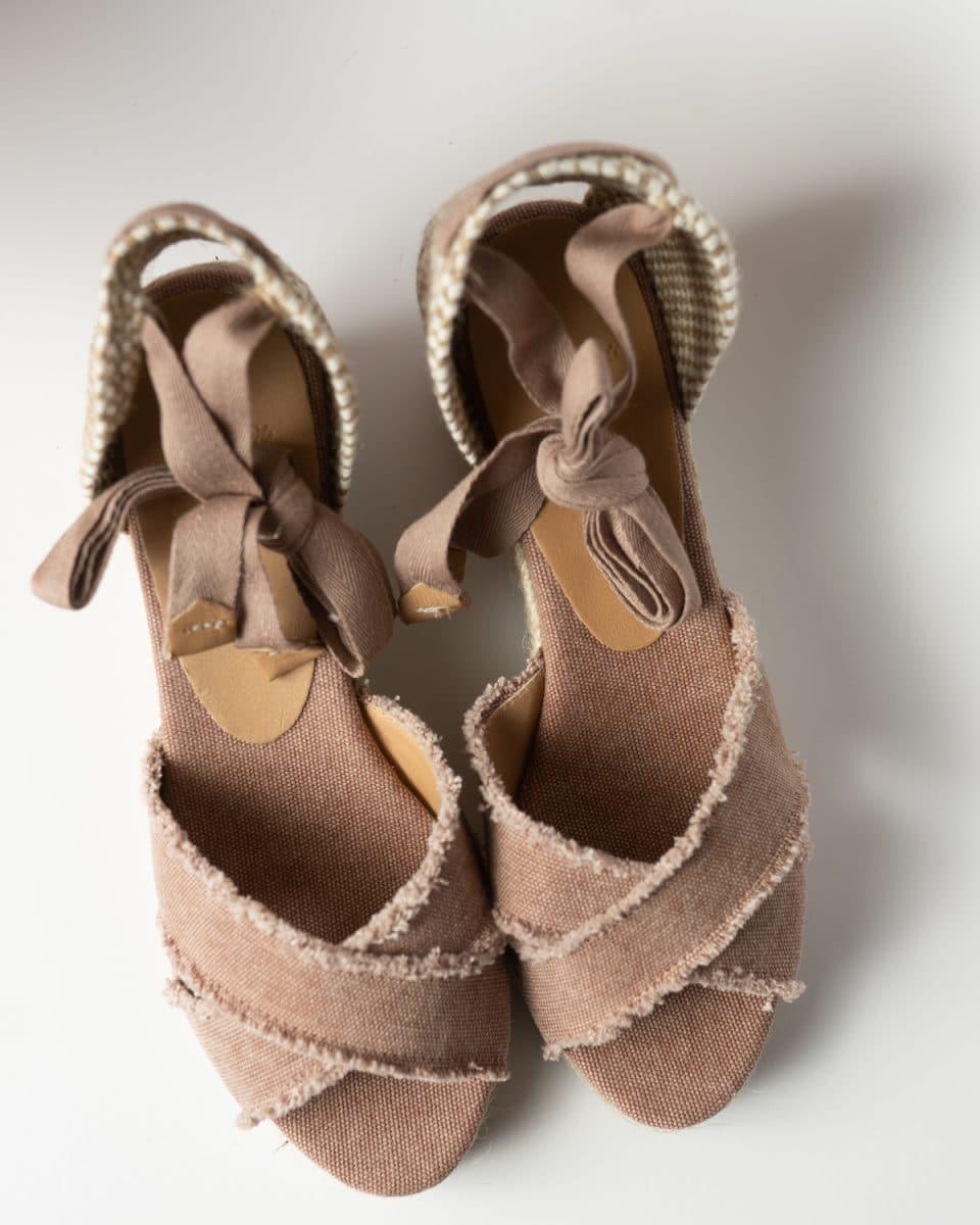 Alpargata Castañer Bluma Rosa con cuña elaborada en lona 7cm Alpargatas en Loyna Shoes