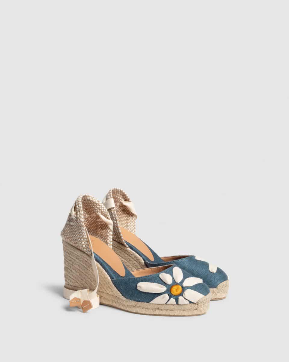 Candace. Alpargata con cuña elaborada en lino 9cm Castañer Alpargatas en Loyna Shoes