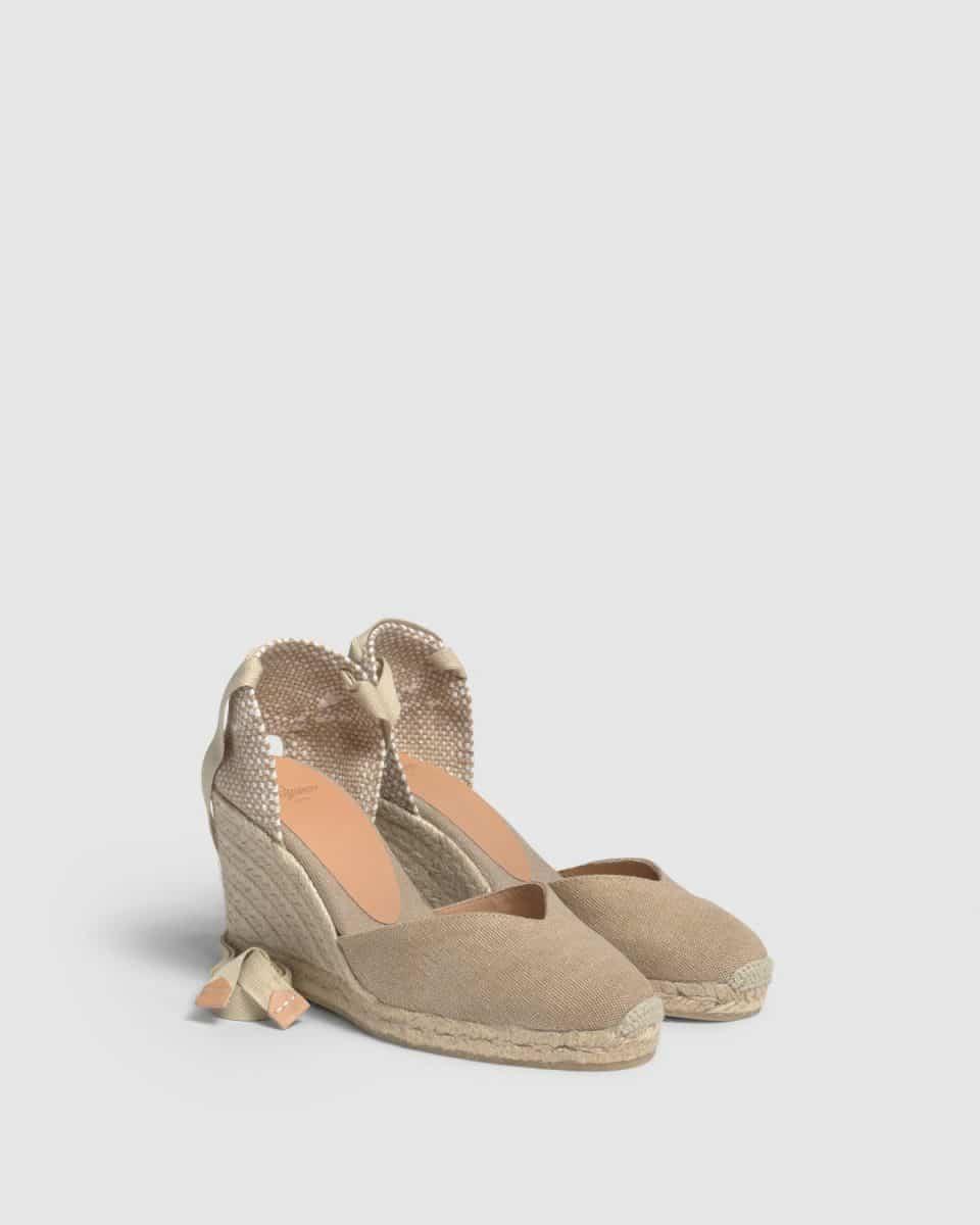 Alpargata Castañer Chiara Sand con cuña en lona 7cm Alpargatas en Loyna Shoes