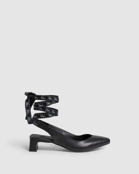 Castañer Tiziana Negro. Zapato slingback elaborado en napa 4cm Castañer en Loyna Shoes