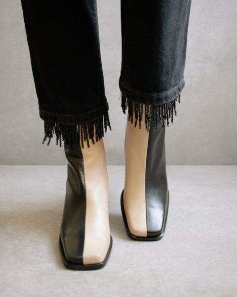 South Bicolor Stone Beige & Black Alohas Winter 2021 Preorder en Loyna Shoes