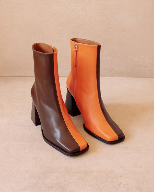 Bottines South Bicolor Coffee Brown Pomelo Orange Alohas en Loyna Shoes